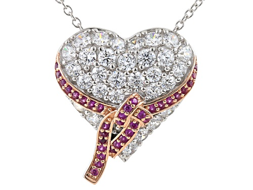 Photo of Bella Luce®4.40CTW Multi Gem Simulants Rhodium Over Silver And Eterno™Rose Heart Pendant With Chain