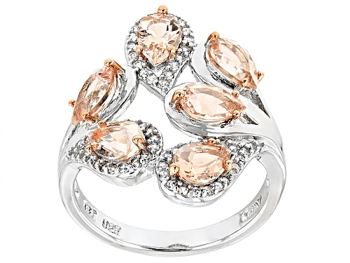 Photo of 1.68ctw Pear Shape Morganite And .45ctw Round White Zircon Sterling Silver Ring - Size 11