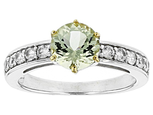 Photo of 1.10ct Round Yellow Apatite And .50ctw Round White Zircon Sterling Silver Ring - Size 11