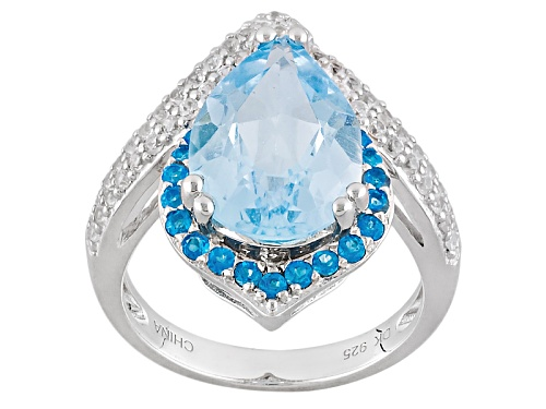Photo of 4.93ct Pear Shape Glacier Topaz™, .30ctw Neon Apatite, And .43ctw White Zircon Silver Ring - Size 8
