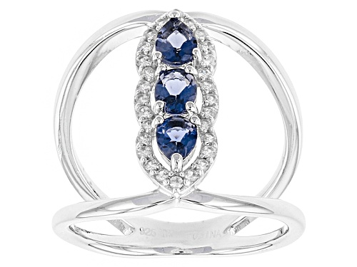 Photo of .39ctw Pear Shape And Oval Iolite With .12ctw Round White Zircon Sterling Silver Ring - Size 6