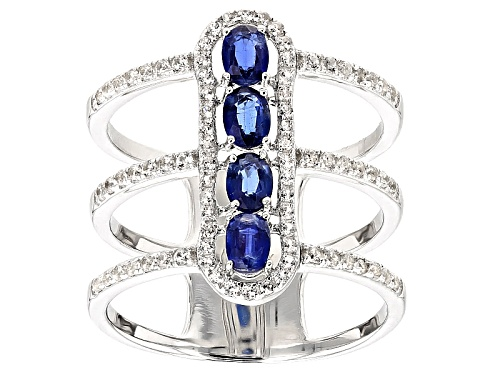 Photo of .81ctw Oval Kyanite And .34ctw Round White Zircon Sterling Silver Ring - Size 7