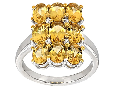 2.98ctw Oval Brazilian Yellow Beryl With .07ctw Round White Zircon Sterling Silver Ring - Size 8