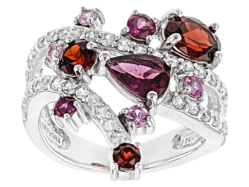 Photo of 3.38ctw Rhodolite Garnet, Vermelho Garnet™, Pink Sapphire And White Zircon Sterling Silver Ring - Size 5