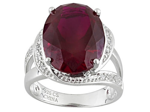 Photo of 11.66ct Oval Lab Created Ruby And .14ctw Round Lab Created White Sapphire Rhodium Over Silver Ring - Size 7