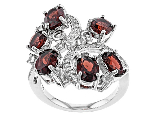 Photo of 5.06ctw Oval And Round Vermelho Garnet™ With .69ctw White Topaz Sterling Silver Bypass Ring - Size 7