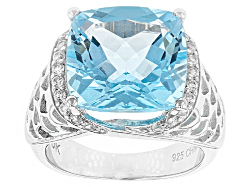 Photo of 8.80ct Square Cushion Glacier Topaz™ And .42ctw Round White Zircon Sterling Silver Ring - Size 8