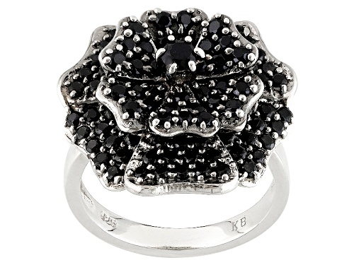 Photo of 2.60ctw Round Black Spinel Sterling Silver Flower Design Ring - Size 7
