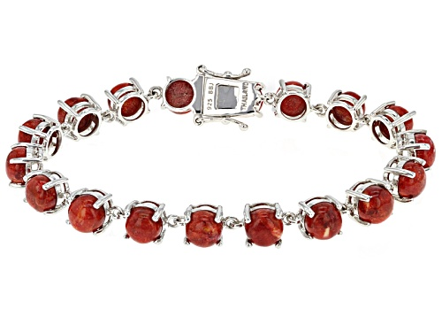 Photo of 8mm Round Red Sponge Coral Sterling Silver Bracelet - Size 8