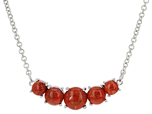 Photo of 6mm, 8mm And 10mm Round Cabochon Red Sponge Coral Sterling Silver Necklace - Size 18
