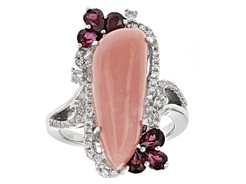 Photo of 21x8mm Peruvian Pink Opal Cabochon, 1.20ct Raspberry Rhodolite And .48ctw White Zircon Silver Ring - Size 6