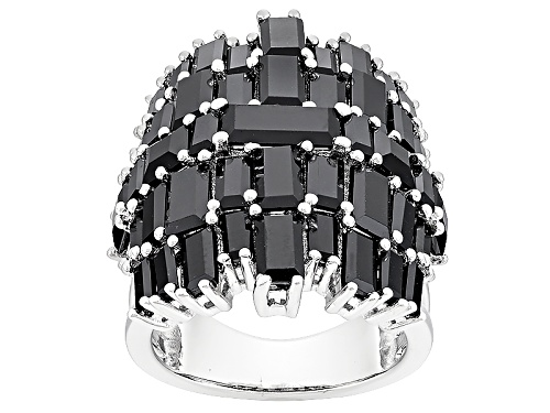 Photo of 10.92ctw Baguette And Square Black Spinel Sterling Silver Ring - Size 5