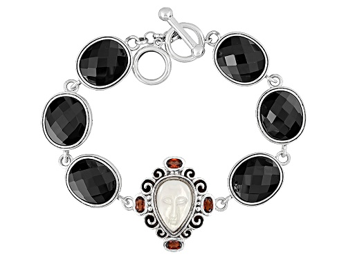 Photo of Pear Carved White Mother Of Pearl, Oval Black Onyx, 1.09ctw Oval Vermelho Garnet™ Silver Bracelet - Size 7.5