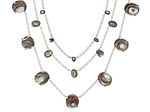 Photo of 12x10mm, 7x5mm And 4x3mm Oval Cabochon Abalone Shell 3 Strand Sterling Silver Necklace - Size 18