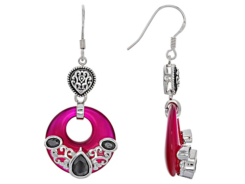 Photo of 20mm Round Fancy Cut Pink Onyx With 2.04ctw Pear Shape And Oval Black Spinel Silver Dangle Earrings