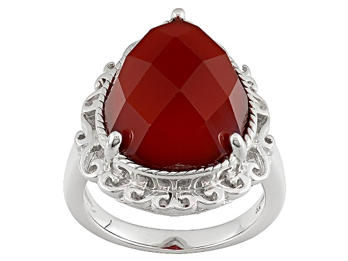 Photo of Pear Shape Checkerboard Cut Carnelian Sterling Silver Ring - Size 5