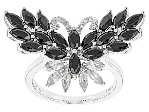 Photo of 1.87ctw Marquise Black Spinel With .42ctw Marquise And Round White Zircon Silver Butterfly Ring - Size 6