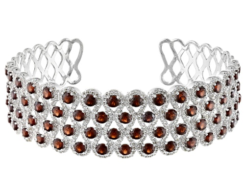 Photo of 11.22ctw Round Vermelho Garnet™ And 2.47ctw Round White Topaz Sterling Silver Cuff Bracelet