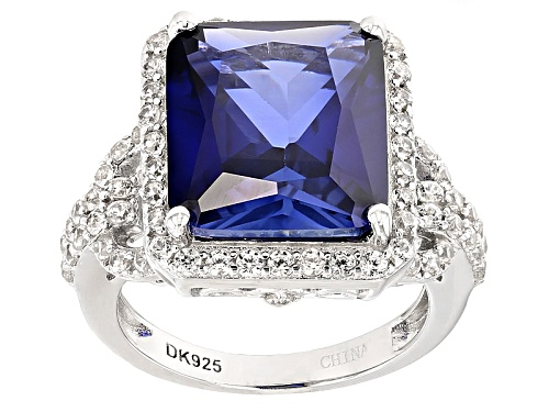 Photo of 8.08ct Rectangular Lab Created Blue Sapphire And 1.16ctw Round White Zircon Silver Ring - Size 12