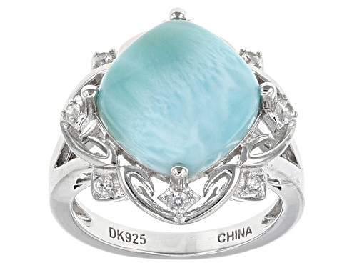 Photo of 12mm Square Cushion Larimar Cabochon And .17ctw Round White Zircon Sterling Silver Ring - Size 8