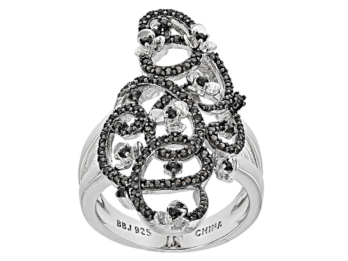 Photo of .62ctw Round Black Spinel With Petite Flower Detail Sterling Silver Ring - Size 6