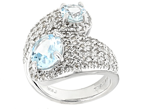 Photo of 3.65ctw Oval And Round Glacier Topaz™ With 1.62ctw Round White Topaz Sterling Silver Bypass Ring - Size 5