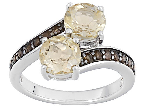 Photo of 1.40ctw Round Champagne Quartz With .16ctw Round Smoky Quartz Sterling Silver Ring - Size 12