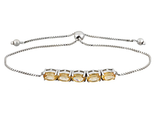 Photo of 3.78ctw Oval Imperial Hessonite™ Sterling Silver Sliding Adjustable Bracelet - Size 7.25