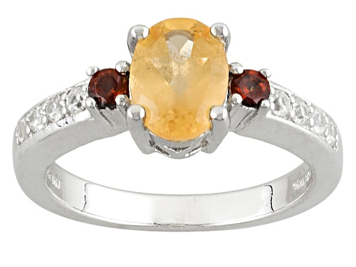 Photo of 1.35ct Imperial Hessonite™, .13ctw Vermelho Garnet™With .23ctw Round White Zircon Silver Ring - Size 7