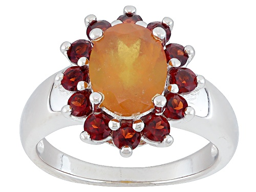 Photo of 2.25ctw Oval Hessonite™ With .80ctw Round Vermelho Garnet™ Sterling Silver Ring - Size 7