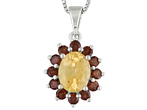 Photo of 3.05ctw Oval Imperial Hessonite™ And Round Vermelho Garnet™ Silver Pendant With Chain