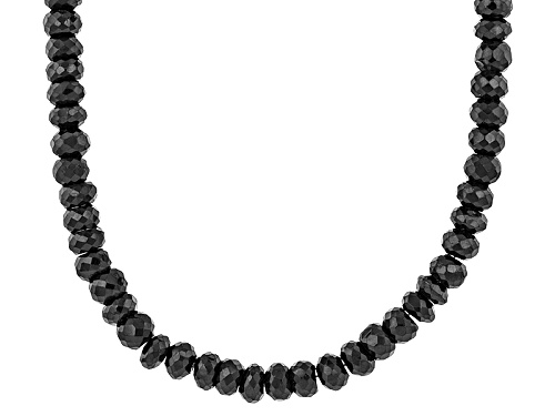 Photo of 280.50ctw Black Spinel Rondelle Bead Sterling Silver Necklace - Size 20