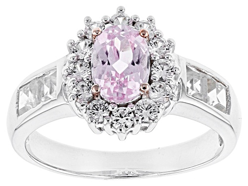Photo of .80ct Oval Kunzite With 1.48ctw Square And Round White Zircon Sterling Silver Ring - Size 11