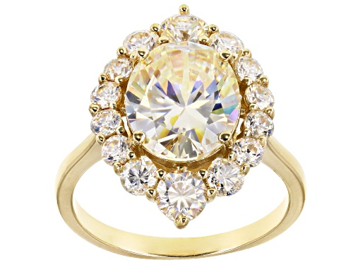 Photo of 5.71ctw Oval And Round Fabulite Strontium Titanate 10k Yellow Gold Ring - Size 9