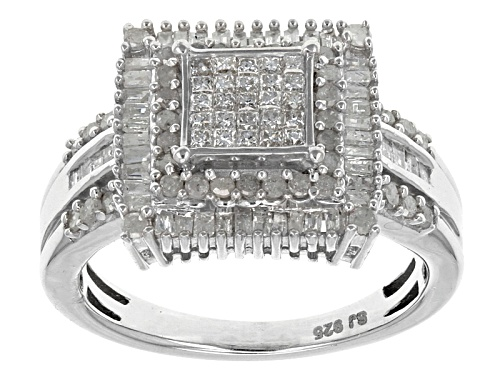 Photo of .95ctw Princess Cut, Round, & Baguette Diamond Rhodium Over Sterling Silver Ring - Size 6