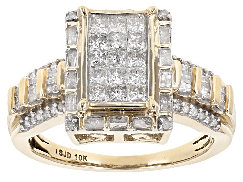 Photo of .90ctw Princess Cut And Baguette And Round White Diamond 10k Yellow Gold Ring - Size 6