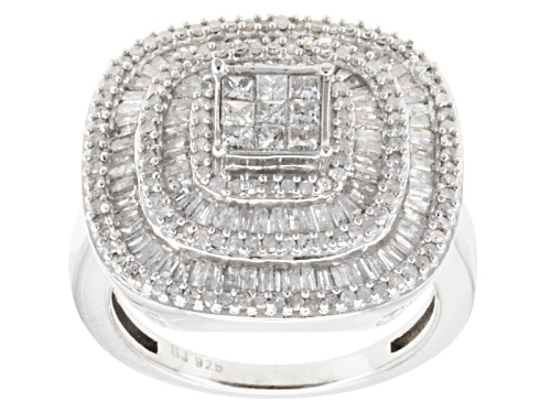 Photo of 1.45ctw Baguette, Round, & Princess Cut Diamonds Rhodium Over Sterling Silver Cocktail Ring - Size 8