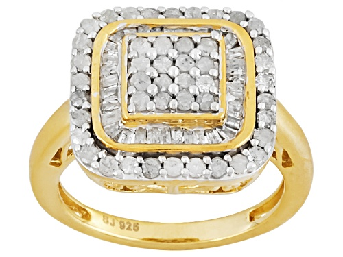 Photo of 1.00ctw Round & Baguette Diamond 14k Yellow Gold Over Sterling Silver Ring - Size 5