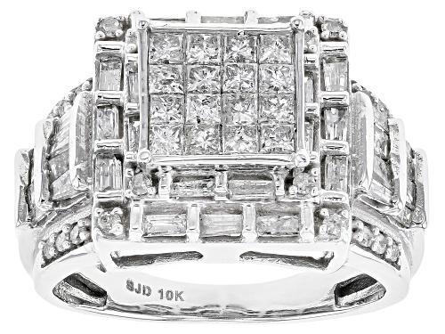 Photo of 1.65ctw Princess Cut, Baguette, & Round Diamond 10k White Gold Ring - Size 8