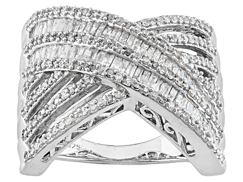 Photo of 1.00ctw Baguette And Round White Diamond Rhodium Over Sterling Silver Crossover Ring - Size 7