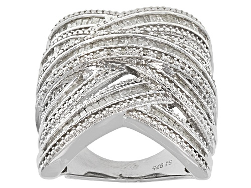 Photo of 1.45ctw Baguette And Round White Diamond Rhodium Over Sterling Silver Crossover Ring - Size 6