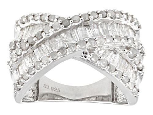 Photo of 1.45ctw Baguette And Round White Diamond Rhodium Over Sterling Silver Crossover Ring - Size 4
