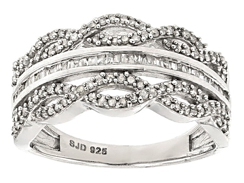 Photo of .50ctw Round And Baguette White Diamond Rhodium Over Sterling Silver Band Ring - Size 8