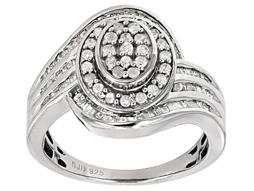 Photo of .85ctw Baguette And Round White Diamond Rhodium Over Sterling Silver Cluster Ring - Size 7