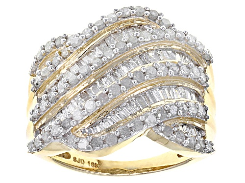 Photo of 1.50ctw Round And Baguette White Diamond 10k Yellow Gold Ring - Size 6