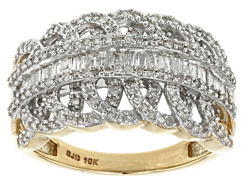 Photo of .70ctw Round And Baguette White Diamond 10k Yellow Gold Ring - Size 4