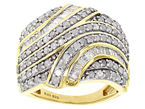 Photo of Engild™ 1.75ctw Round And Baguette White Diamond 14k Yellow Gold Over Sterling Silver Ring - Size 4