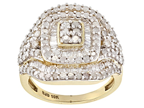 Photo of 2.05ctw Round And Baguette White Diamond 10k Yellow Gold Ring - Size 4