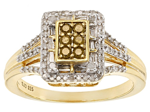 Photo of Engild™ .40ctw Round Yellow & White & Baguette White Diamond 14k Yellow Gold Over Silver Ring - Size 11