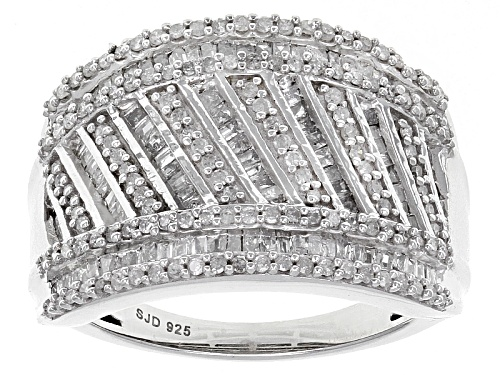 Photo of 1.15ctw Round And Baguette White Diamond Rhodium Over Sterling Silver Ring - Size 7